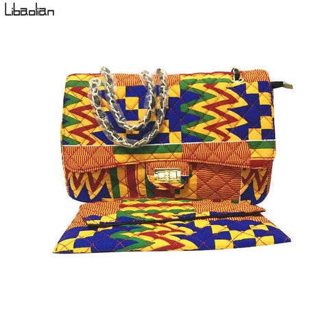 New in Kente African Prints Shoulder Handbags - Nimma