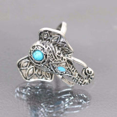 8pcs Boho Retro Elephant Snake Blue Rings - ATMKollectionz