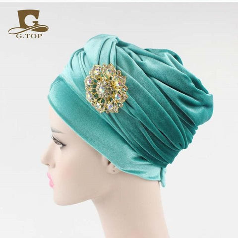 Double Velvet Turban (Hijab HeadWrap) with the jewelry brooch