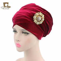 Double Velvet Turban (Hijab HeadWrap) with the jewelry brooch - African Clothing from CUMO LONDON