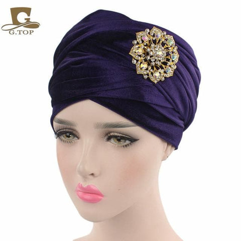 Double Velvet Turban (Hijab HeadWrap) with the jewelry brooch - ATMKollectionz