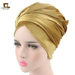 Plain Velvet Turban/Hijab Head Wrap Extra Long - African Clothing from CUMO LONDON