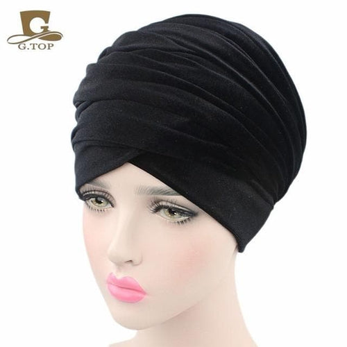 Plain Velvet Turban/Hijab Head Wrap Extra Long