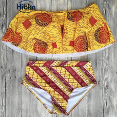 African print high waisted bikini off shoulder swimsuit - ATMKollectionz