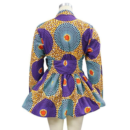Fashion African Ankara printed belted long sleeve blouse
