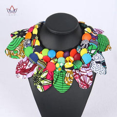 Ankara Print Button Statement neck piece Tribal Necklace - African Clothing from CUMO LONDON