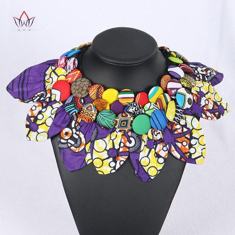 Ankara Print Button Statement neck piece Tribal Necklace