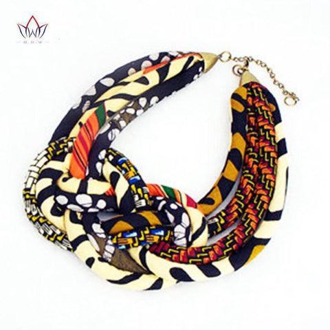 African fabric Bib Batik Necklace Ankara Fabric Knot Handmade Necklace Tribal Necklaces for Women