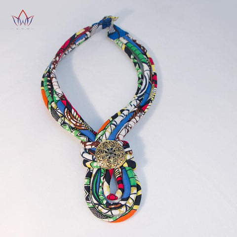 Colorful African Jewelry Fabric Rope Necklace Africa Nigerian Multi-color Jewelry Ankara Multistrand Necklace for Women WYB078