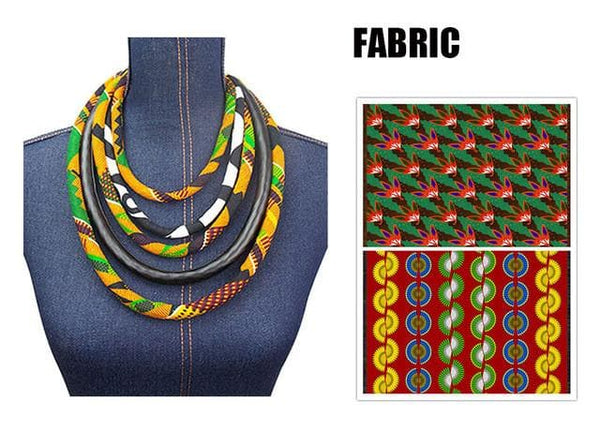 Ankara Kente Print Necklace by Hand African Kente Jewelery African Kente Print Fabric Necklaces for Women - African Clothing from CUMO LONDON