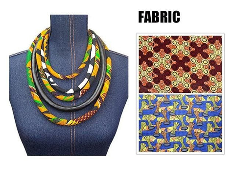 Ankara Kente Print Necklace by Hand African Kente Jewelery African Kente Print Fabric Necklaces for Women