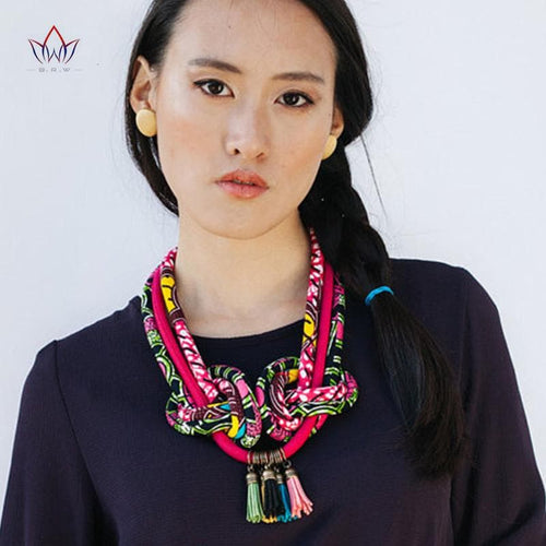 African Print Statement Necklace Knot Fabric Jewelery Ankara Multi Colour Necklaces for Women