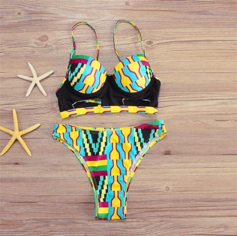 New in African Print High Waist Swimsuit 2 piece Bikini Set