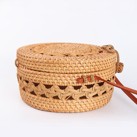 Handwoven Circle Rattan Beach Bag