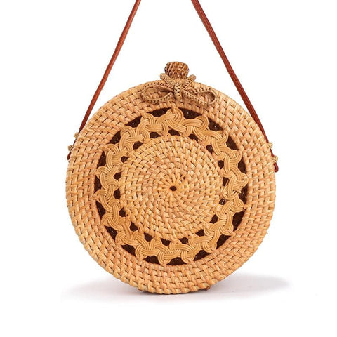 Handwoven Circle Rattan Beach Bag - ATMKollectionz