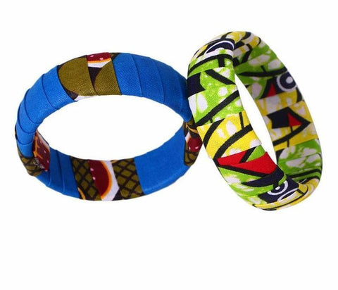 New In Large Ankara Kente Handmade Bangles 1 Pc