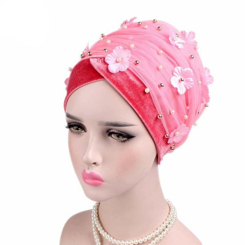 Pearl Velvet 3D Flower Beaded Extra Long Mesh Turban Wrap - ATMKollectionz