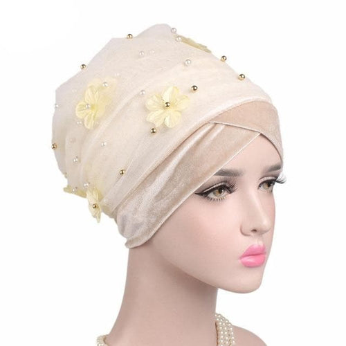 Pearl Velvet 3D Flower Beaded Extra Long Mesh Turban Wrap