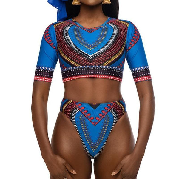 African Dashiki Print High Waist Swimsuit - Short Sleeve - African Clothing from CUMO LONDON