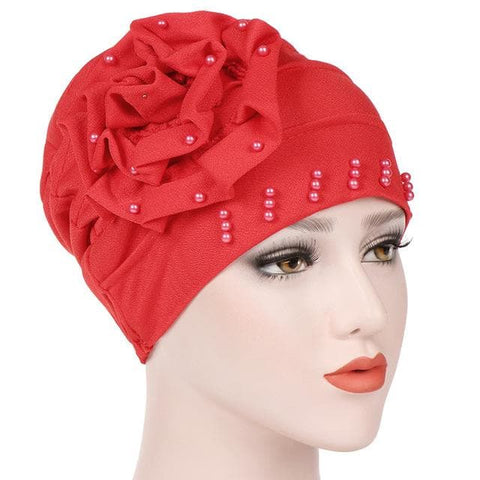Ruffled Big Flower Head Cap Turban - African Clothing from CUMO LONDON