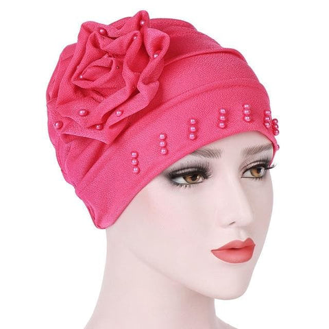 Ruffled Big Flower Head Cap Turban - ATMKollectionz