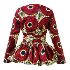 New In African Print Long Sleeve High Waist Top (Also available in Plus Size) - African Clothing from CUMO LONDON