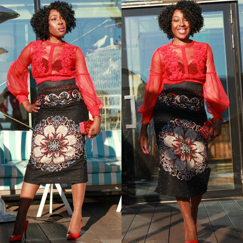 African Print Fitted Pencil Skirt