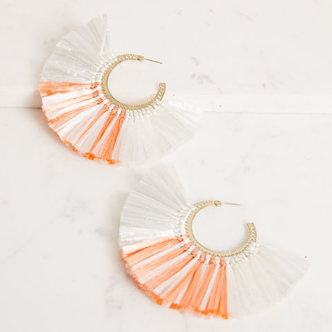 'LUAU' Raffia Fringe Earrings