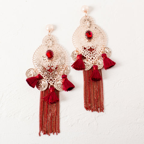 'SOUQ' earrings | Rose gold & Burgundy