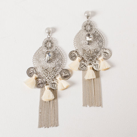 'SOUQ' earrings | Silver & Ivory