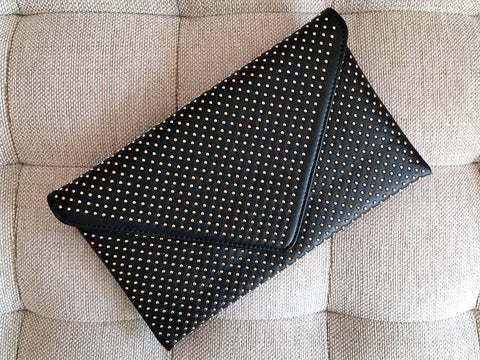 'VEGAS' Studded Clutch | Black