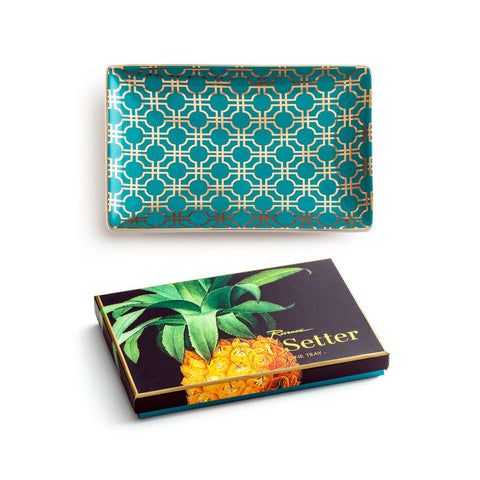 'Jet Setter' Teal & Gold Geometric Tray