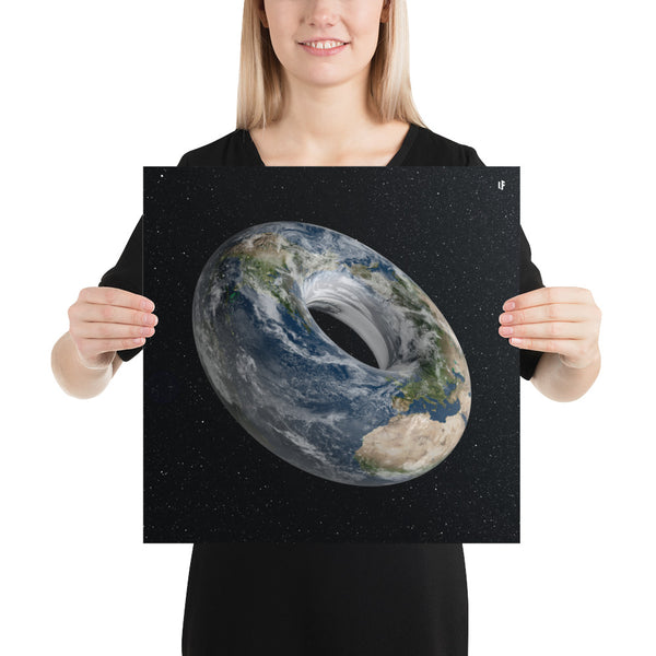 Donut Earth Photo Paper Poster