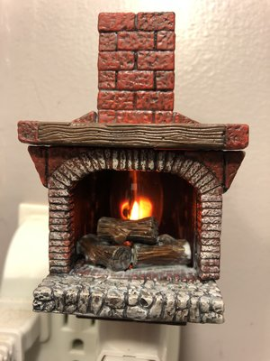 """Rustic Flickering Fireplace"" Night Light - Handmade & Hand-painted"