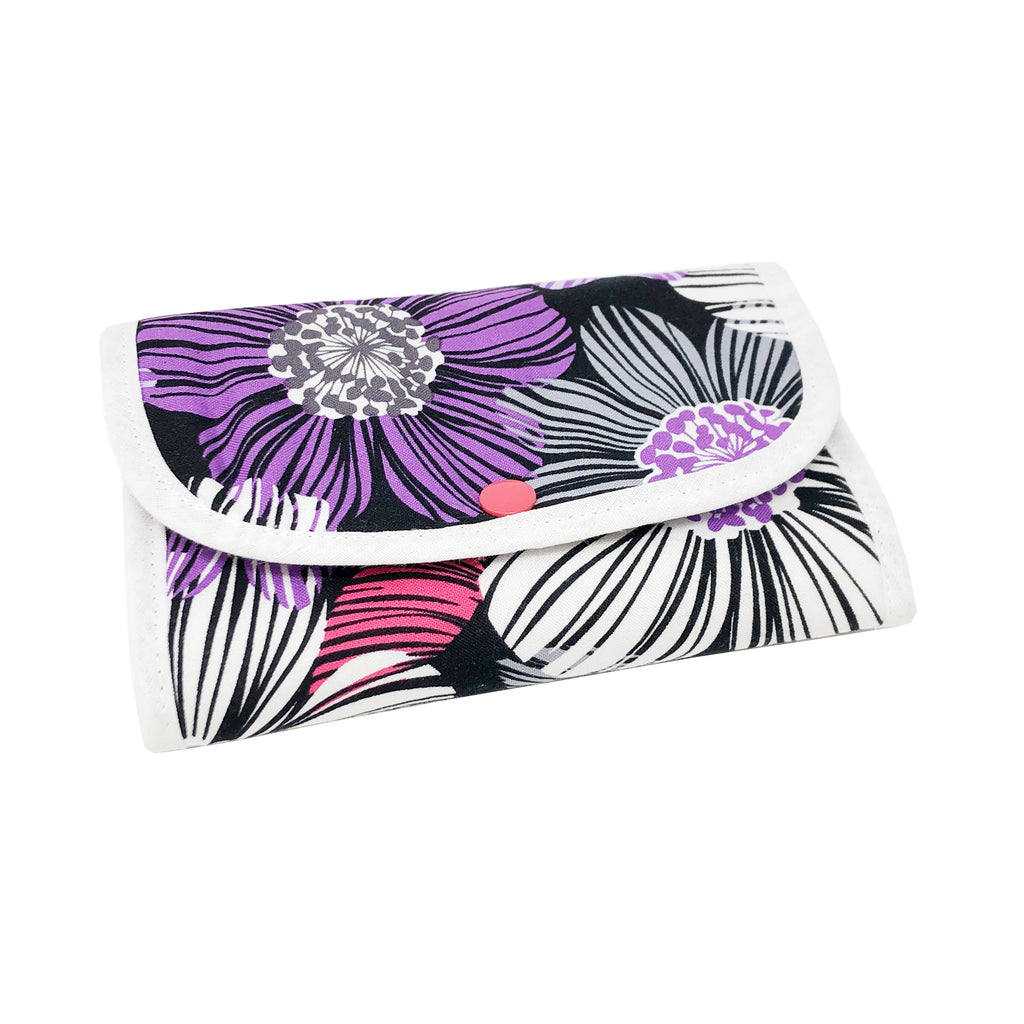 "NEW SALE! ""Purple Flora"" Small Tri-Fold Cosmetic/Accessory Bag"
