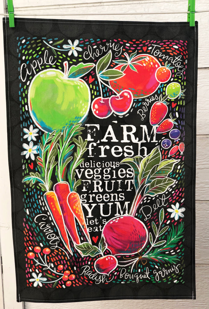 "CONTINUED SALE! ""Farm Fresh"" Linen/Cotton Dish Towel - MORE IN!"
