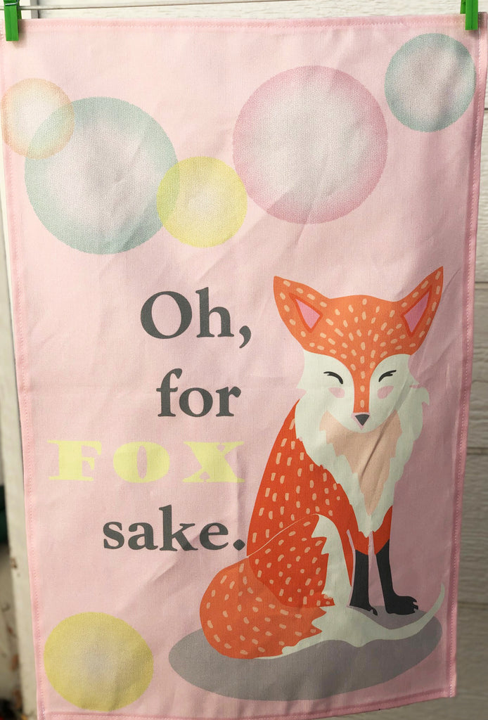 "CONTINUED SALE! ""Oh, for Fox Sake."" Linen/Cotton Dish Towel - MORE IN!"