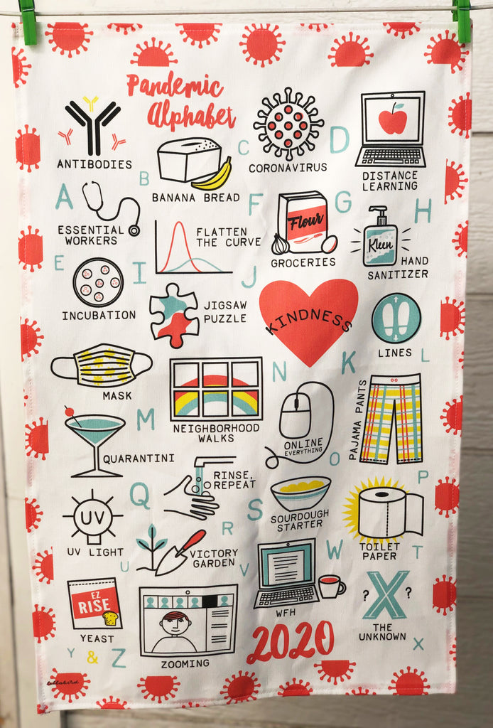 "CONTINUED SALE! ""Pandemic Alphabet - 2020"" Linen/Cotton Dish Towel - MORE IN!"