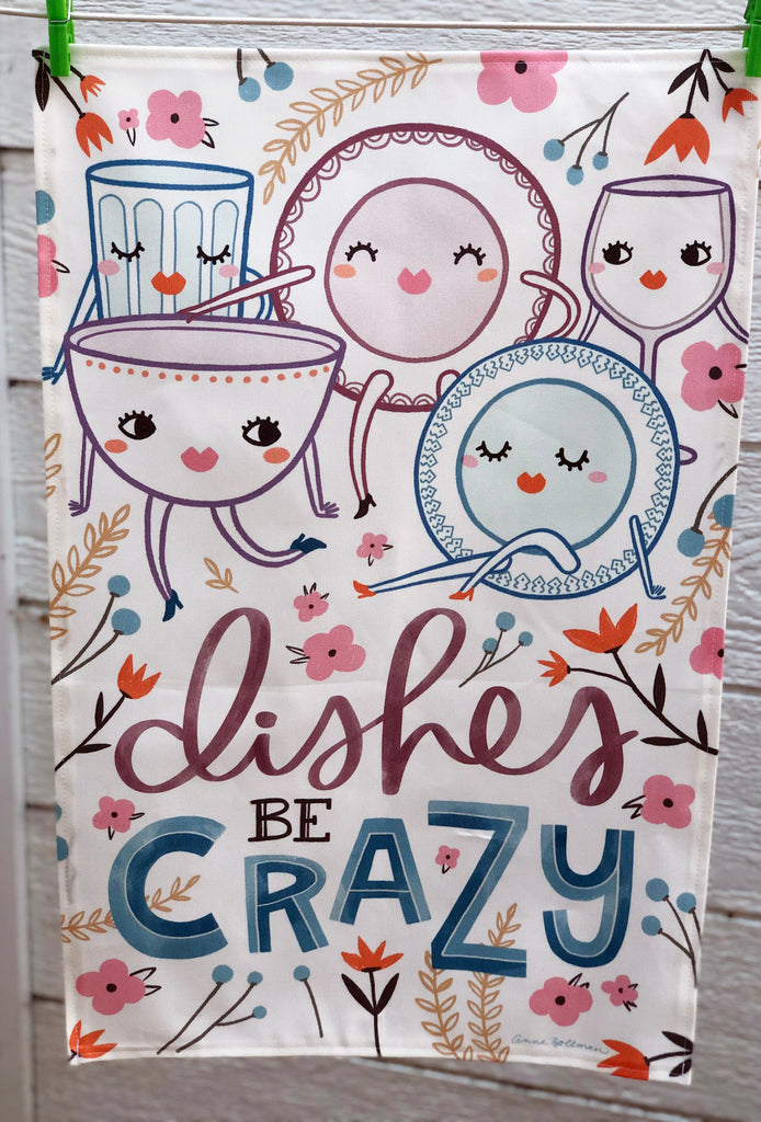 "CONTINUED SALE! ""Dishes Be Crazy"" Linen/Cotton Dish Towel - MORE IN!"
