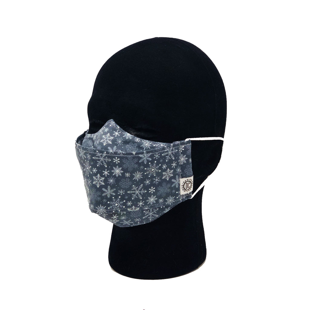 "NEW! ""Frosty Midnight Snowflakes"" Fabric Face Mask"