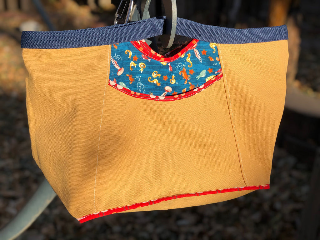 "NEW!  ""Under the Sea"" Mustard Canvas Wallaby Bag"