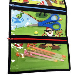 """Paratrooper Ninja Gnomes"" Tri-Fold Cosmetic/Accessory Bag"