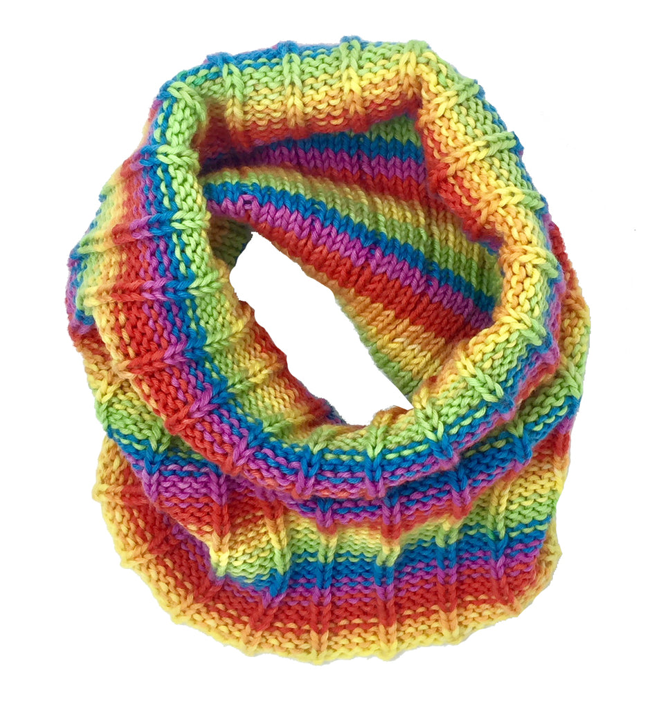 """Rainbow Bright"" Hand-knit Cowl"