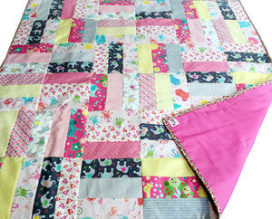 "Handmade & Hand Tied ""My Little Sunshine"" Baby Quilt in Pink"