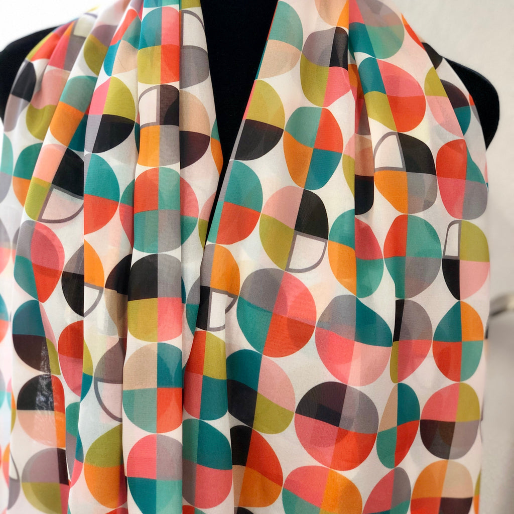 "NEW! ""Pie-Graphics"" Chiffon Infinity Scarf"