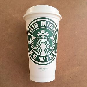 CLEARANCE Fun Decal ON a Reusable Starbucks 16 oz. Hot/Cold Cup (Cup & Lid Included)