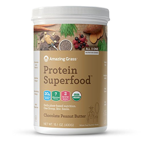 Amazing Grass Plant Based Chocolate Peanut Butter Vegan Protein Superfood Powder (15.1oz)