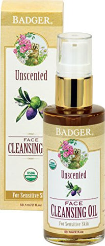 Badger Unscented Face Cleansing Oil - 2 fl oz Glass Bottle