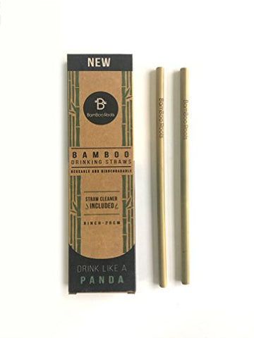 Reusable and Biodegradable Bamboo Drinking Straws (12-piece)