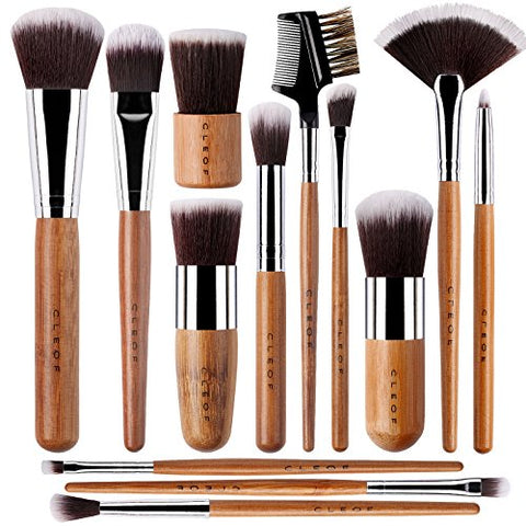13 Bamboo Makeup Brushes - Vegan & Cruelty Free